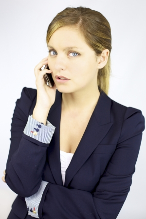 Good looking woman talk and look with cell phone photo