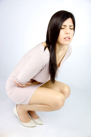 Woman feeling very stomach sic Stock Photo - 26374259