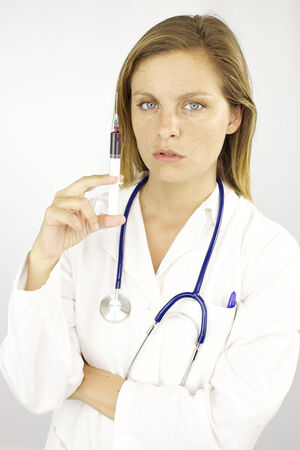 Young woman student doctor in action photo