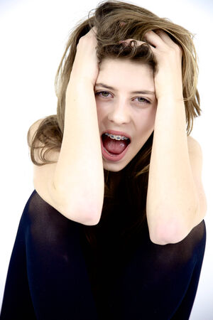 Desoerate girl shouting feeling sadness and fear Stock Photo - 27163036