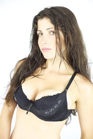 Gorgeous female model posing in studio photo