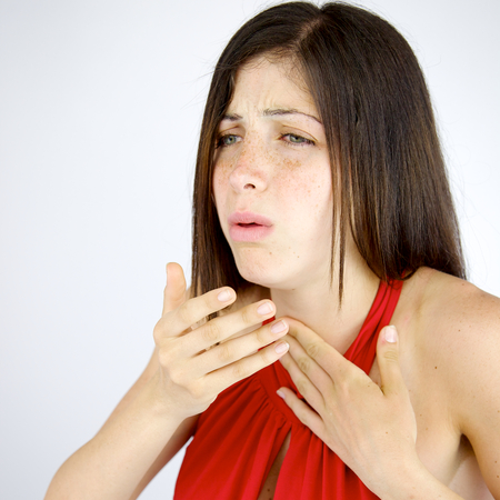 Unhappy woman feeling sick with coughs