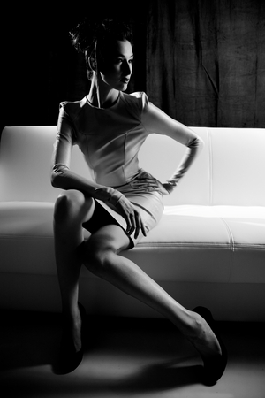 Fashion photo shoot in black and white photo