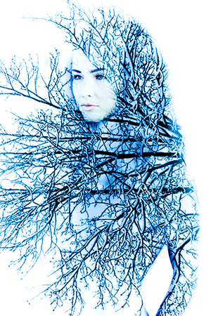 Abstract portrait of woman inside tree with snow photo