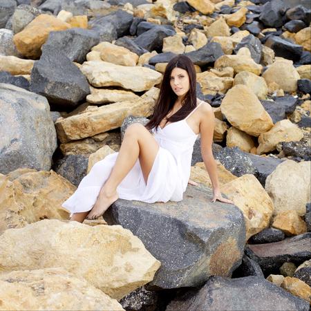 beauty shot: Happy female model beauty shot Stock Photo