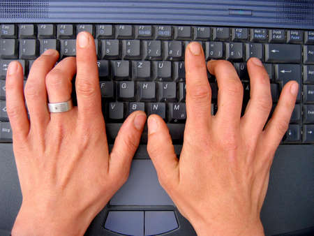 typist: hands and laptop