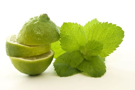 Sliced Lime and Mint Leaves: refreshment