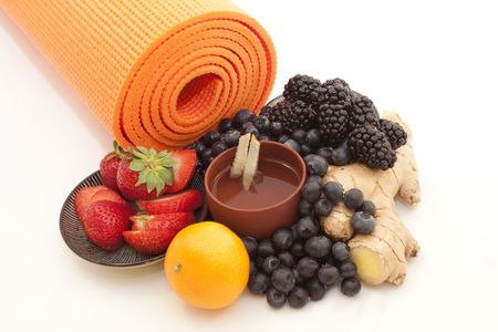 alternative wellness: Ginger Tea, Fruit, and Yoga: Wellness and Balance