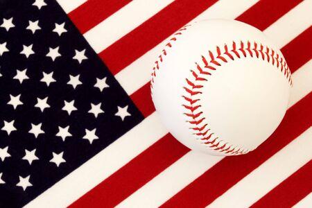 An American Game: American flag & baseball photo