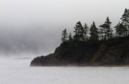 Fog veils island and small peninsula