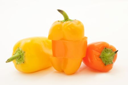 Three peppers, one with unusual triple cut Reklamní fotografie