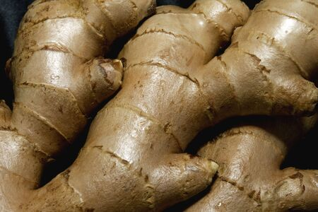 venues: Sharp closeup of multipurpose ginger root, important in medicinal and culinary venues
