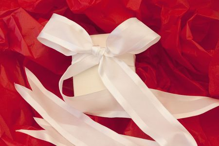Festively elegant, wrapped white box and white ribbon against red tissue paper