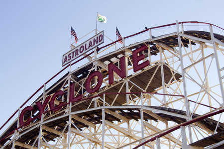 Coney Island, Brooklyn, New York: Iconic, New York City Landmark roller coaster, the Cyclone, in early morning light on Sunday of Labor Day weekend, 2010 Editorial