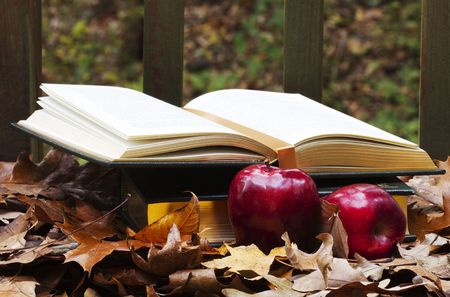 Open and closed textbooks nestled in colorful autumn leaves with red, fall harvest apples in foreground depict academics, homework, and study needs deep into the fall semester Stock Photo