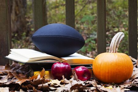Autumn images combine with football and textbooks to reflect the preparation, academic and training, before the seasons big games Stock Photo