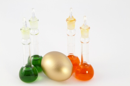 sectores: Conjunto de cuatro vasos de laboratorio con huevo de oro situado entre ellos para reflejar la oportunidad en los sectores de investigaci�n