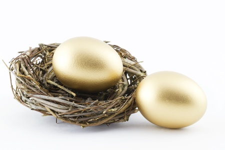 retirement nest egg: Two golden eggs with a twig nest  depict financial hopes and results