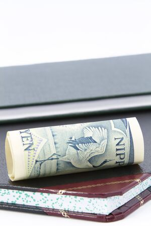 Yen, Japan's currency, lies on its side on an account ledger depicting a hard hit from high costs; copy space above books; money fallen on its side