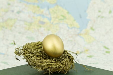 global retirement: Gold nest egg in gold nest sits on a ledger in front of a map background, subtle through shallow depth of field, to enhance interest, add to theme, and provide copy space;