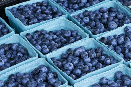Fresh-picked blueberries in blue, recyclable containers.  Farm fresh at Hunterdon Farmers Market in Flemington, New Jersey