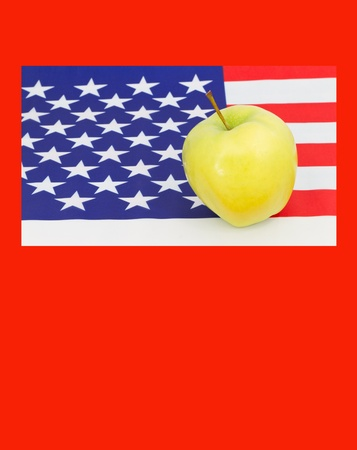 education; schools; issue; policy; flag; American; United States; golden; apple; achievement; learning; teacher; student; learner; success; nobody; horizontal; red; white; blue; yellow