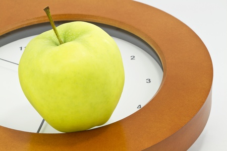 Golden, delicious apple placed on face of clock indicates that now is the time to face school, teacher, and education issues and policy changes in public, private, and charter schools;