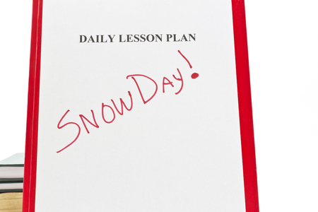 Daily lesson plan sheet on red folder with SNOW DAY written in