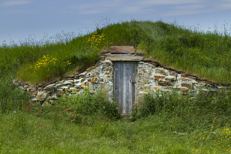 Root cellar in Elliston of Canadas province, Newfoundland and Labrador.  Tourism destination known as root cellar capital of the world, for natural beauty and a puffin colony.