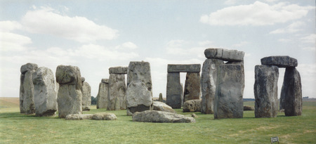 evoke: Historic Stonehenge image taken in 1991.  Ancient site of mystery and legend continues to evoke and attract. Stock Photo