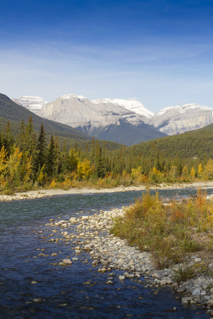 tributary: Bend of Snaring River in Jasper National Park, Alberta province, Canada.  The park is a UNESCO World Heritage site. Snow on peaks of mountains behind flowing stream. Snaring river is a tributary of Athabasca River. Stock Photo