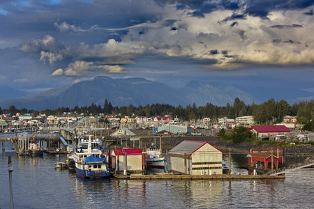 joins: Quaint fishing village of Petersburg in Southeast Alaska, United States. Location is on Mitkof Islands northern end, where Wrangell Narrows joins Frederick Sound.