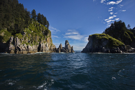 beckoning: Beckoning allure in beautiful perspective of Kenai Fjords National Park in Southcentral Alaska near the town of Seward. Stock Photo