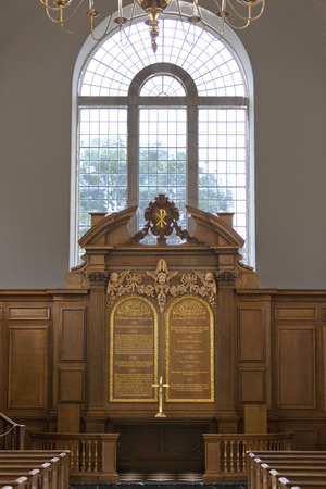 rebuilt: FULTON, MISSOURI � July 1, 2015: Altar of Church of St. Mary that houses America�s National Churchill Museum, on the campus of Westminster College, in Fulton, Missouri.  Church of St. Mary the Virgin Aldermanbury is a rebuilt Christopher Wre