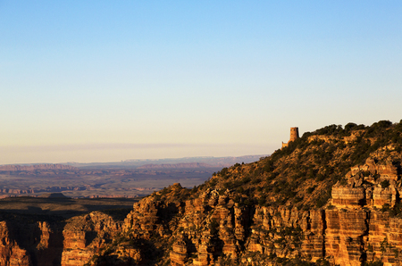 View of Watchtower seen from Navajo Point along Desert View Scenic Drive in Grand Canyon National Park, Arizona, USA.  Horizontal image with copy spacel Stock Photo