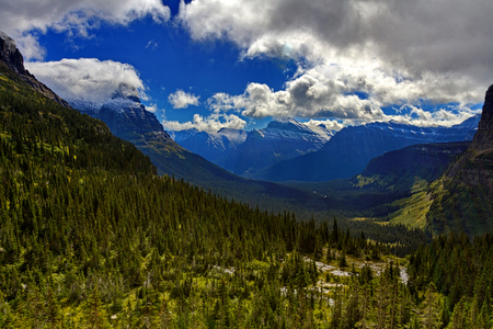 Scenic landscape view of Glacier National Park at Lunch Creek.  Location is Montana, United States. Date is autumn, September 9, 2016. Stock Photo
