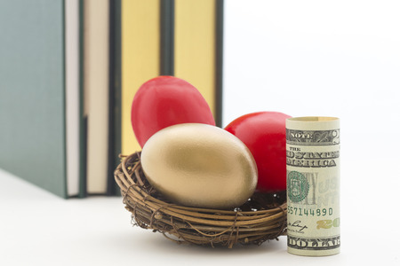 Three nest eggs, two red and one gold, with single American dollar.  Books behind with copy space on right of horizontal photograph. Stock Photo