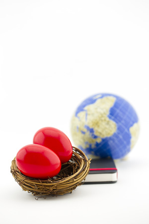 Vertical image with focus on two, red nest eggs with journal and globe behind. Conceptual image of global market and investing risks.