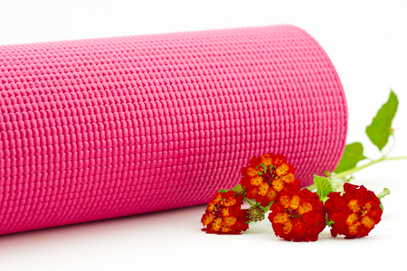 lantana: Pink yoga mat placed with red lantana flowers reflect natural approach to exercise and fitness.  Horizontal photograph with copy space.