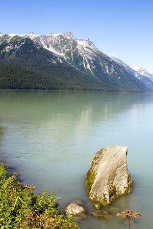 Beautiful Chilkoot Lake, a popular camping, fishing, and wildlife viewing location, near Haines, Alaska.