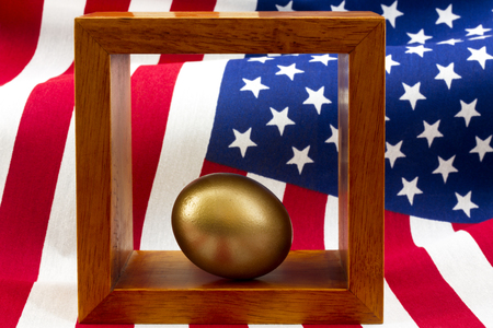 Federal funding, government policy, American business investments suggested by gold egg placed in wood frame with rippling stars and stripes pattern behind in horizontal image. Stock Photo