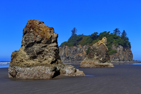 Beautiful Pacific coast Ruby Beach on Abbey Island with dramatic seastack formations in Olympic National Park, Washington State, USA; Stock Photo