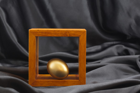 Gold egg accented by placement in wood frame against black satin background highlights importance of strategic investing for valuable goals like education, lifestyle, and retirement.