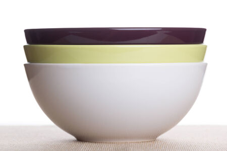 there: There colored cereal bowls