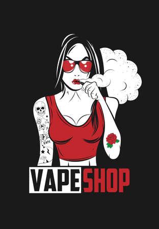 Vape 소녀 포스터 일러스트