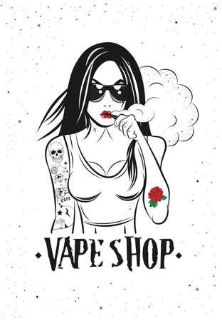 Vape Girl Poster 向量圖像