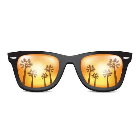 Realistic Sunglasses with palm. California. Vector illustration
