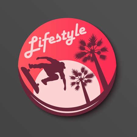 Lifestyle circle Sticker Skateboarding Palm and sun