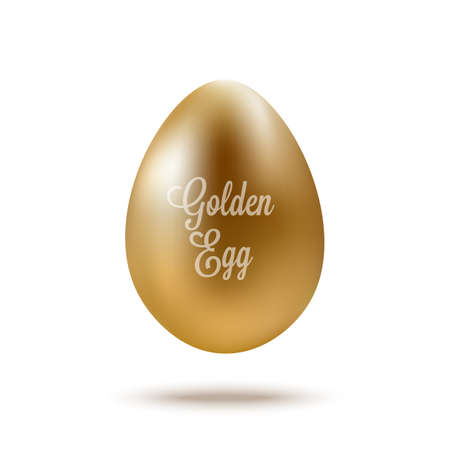 Realistic Golden Egg with text.