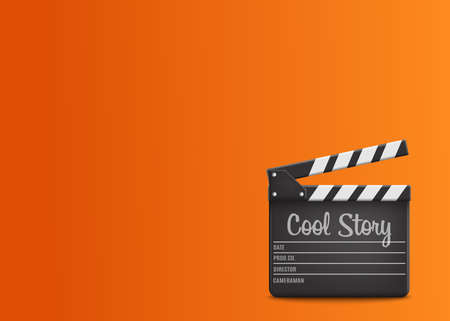 Clapperboard with text Cool Story on orange background.Vector illustration